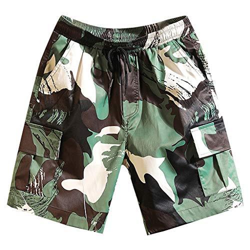 Aleola Men's Multi Pocket Loose Fit Camouflage Cargo Shorts Plus Size Short Pants (Green,XXXXXL)