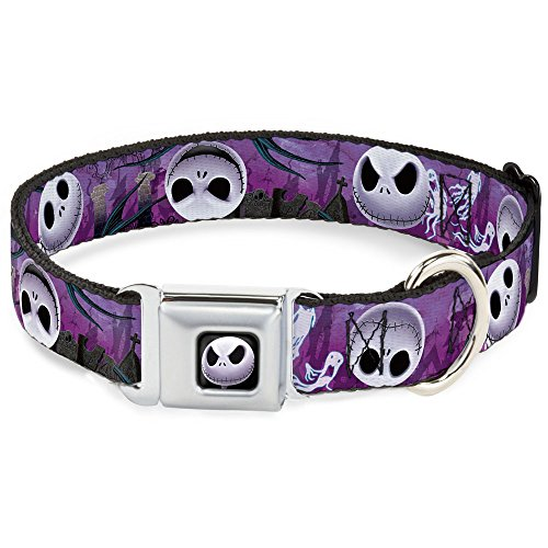 Buckle-Down Seatbelt Buckle Dog Collar - Jack Expressions/Ghosts in Cemetery Purples/Grays/White - 1