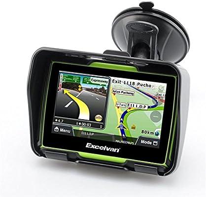 Excelvan - Navegador GPS Para Coche y Motos (Pantalla TFT 4.3, Windows CE 6.0, Impermeable IPX7, Bluetooth, 8Gb, Mapas Gratuitos para Descargar, Navegación con Voz, Idiomas Compatibles) (Verde): Amazon.es: Electrónica