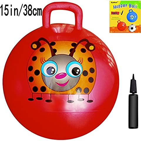 Space Hopper Ball with Air Pump: 15in/38cm Diameter for Ages 3-4, Hop Ball, Kangaroo Bouncer, Hoppity Hop, Jumping Ball, Sit & Bounce - Red