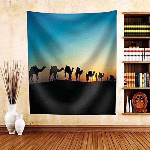 Gzhihine Custom tapestry Camel caravan silhouette through the sand dunes lead nose at Thar Desert India dramatic sunlight background - Fabric Tapestry Home Decor (Vintage Black Sailor Girl Nose)
