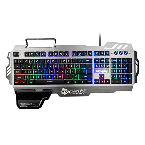 (RedThunder K900 Gaming Keyboard - LED Backlit, Phone Holder, Hand Rest, Brushed Metal Cover - Durable, Ergonomic, Quiet, Waterproof - Computer Laptop PC Mac)