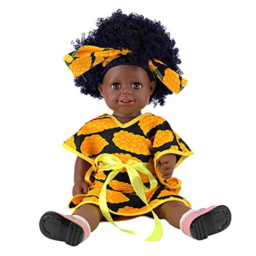 ABASSKY Black Girl Dolls African American Play Dolls Lifelike 45cm Baby Play Dolls D
