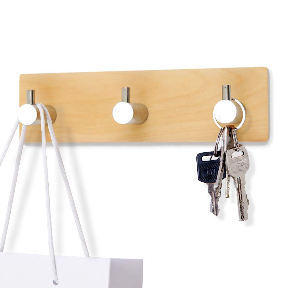 Adhesive Wall Key Holder, Natural Wood Key Holder for Wall, Small Decorative Hooks with Solid Stainless Steel Peg Wooden Board Rail, Modern Cabinet Door Organizer for Kitchen Office Bathroom, 3 Hook