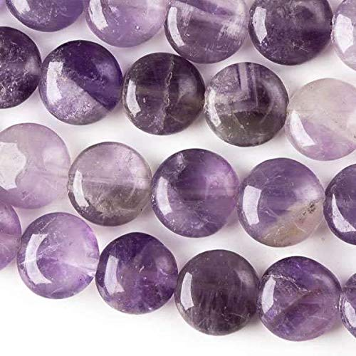 Cherry Blossom Beads Amethyst Beads 10mm Smooth Coin - 8 Inch Strand