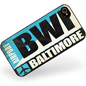 Rubber Case for iphone 4 4s Airportcode BWI Washington DC - Neonblond