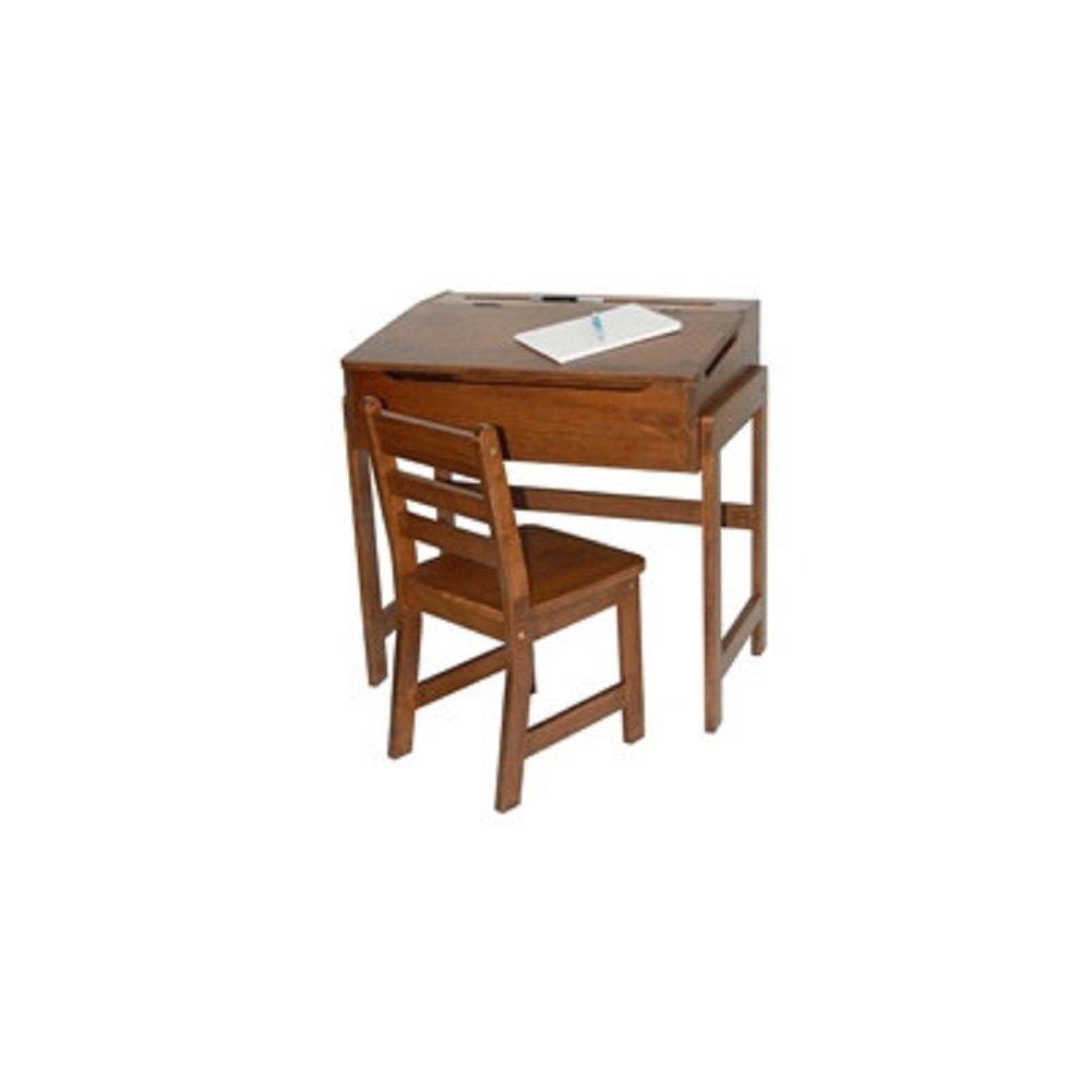 Lipper International Kids' Desk and Chair Set in Walnut, Childrens Wooden Desk and Chair Set