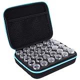 Caja de almacenamiento del bordado del diamante de 30 ranuras, caja del almacenamiento de la herramienta de los accesorios de la pintura de la medicina de la joyería(Azul)