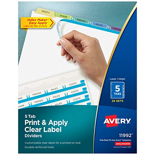Avery Index Maker Clear Label Dividers, 5 Tabs, Multi-Color Tabs, 25 Sets (11992)