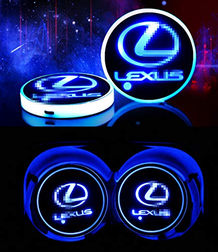 Goodream 2pcs Car Cup Holder Lights LED Logo Coaster Luminescent Pad Interior Atmosphere Lamp with 7 Colors Changing USB Charging (for Lexus)