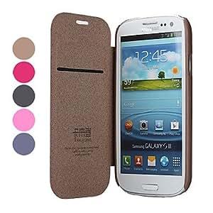 HOR Estilo elegante PU de protección estuche de cuero con soporte y ranura de la tarjeta para Samsung I9300 Galaxy S3 , Negro