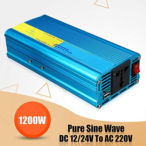 1200W Pure Sine Wave Inverter with Buzzer DC 12V/24V to AC 220-240V Converter,Pure Sine Wave Car Power Inverter, Smart Filter and Fan,STM Chip Technology,USB Output, Universal Three-Hole Socket
