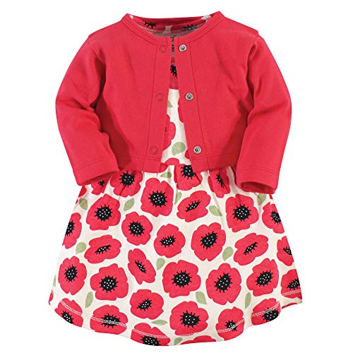Touched by Nature Girl Baby Organic Cotton Cardigan and Dress, Poppy 2 Piece Set, 6-9 Months (9M)