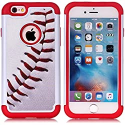 iPhone 6S Case,iPhone 6 Case - Baseball Sports Pattern Shock-Absorption Hard PC and Inner Silicone Hybrid Dual Layer Armor Defender Protective Case Cover for Apple iPhone 6 iPhone 6S
