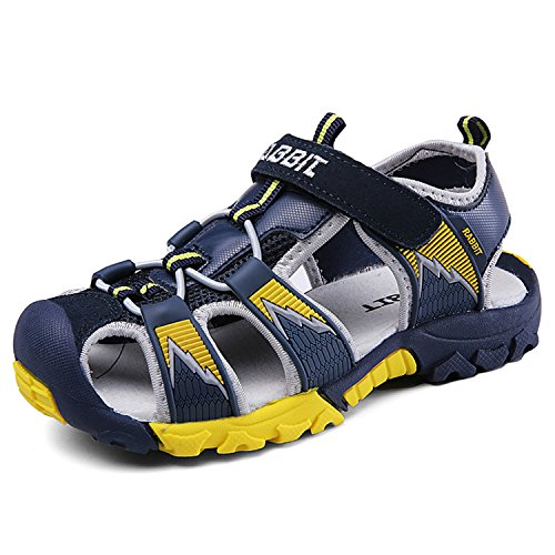 6ce7e1b2c3b0 SAGUARO Boys Girls Kids Outdoor Sport Closed-Toe Breathable Mesh Water Athletic  Sandals Shoes Blue Green 32