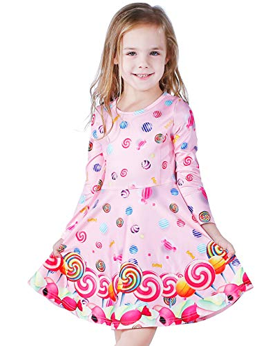 LaBeca Girls Lollipop Printed Long Sleeve T-Shirt Birthday Party Play Dress Lollipop Fall L -