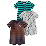 Simple Joys by Carter's Baby Boys' 3-Pack Snap-up Rompers, Green Stripe/Gray Cars/Orange Stripe, 0-3 Months