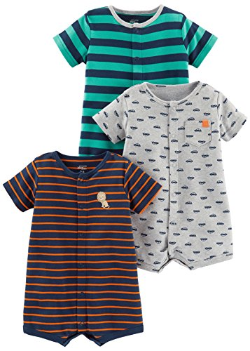 Simple Joys by Carter's Baby Boys' 3-Pack Snap-up Rompers, Green Stripe/Gray Cars/Orange Stripe, 12 Months