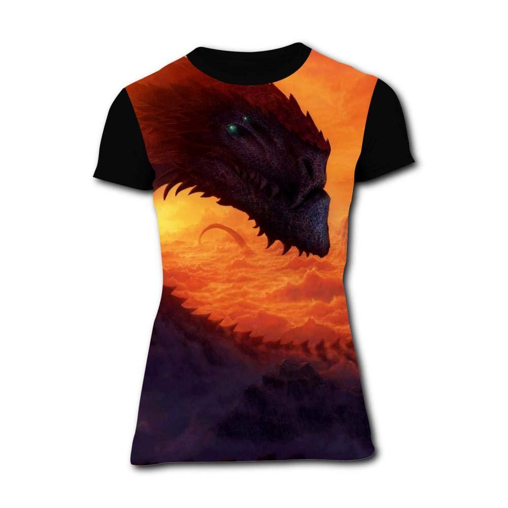 Gujigur Womens T Shirt Fantasy Giant Dragon in Sky Summer Casual Short Sleeve Tee Creative 3D Printed Hipster Design