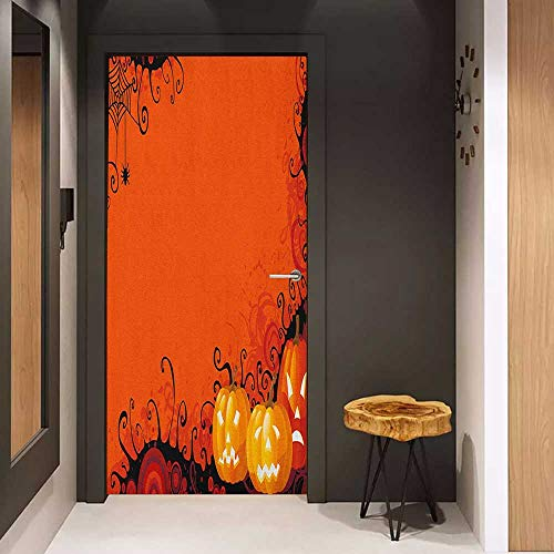 Door Wall Sticker Spider Web Three Halloween Pumpkins Abstract Black Web Pattern Trick or Treat Mural Wallpaper W32 x H80 Orange Marigold Black