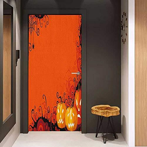 Door Wall Sticker Spider Web Three Halloween Pumpkins Abstract Black Web Pattern Trick or Treat Mural Wallpaper W32 x H80 Orange Marigold Black]()