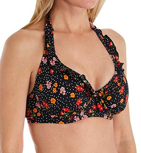 Pour Moi Hot Spots Halter Underwire Bikini Swim Top (3902) 34F/Ditsy