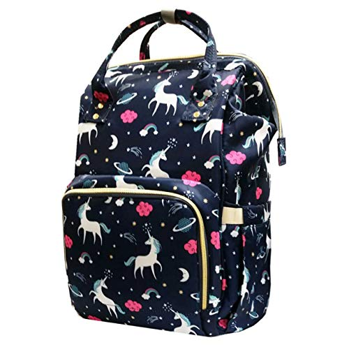 Diaper Bag Backpack Baby Bag Multifunction Maternity Travel Changing Pack - Water Resistant Nappy Tote (Blue Unicorn)