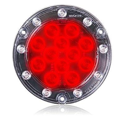 Maxxima M85417R Red 21 Ultra Thin Round Hybrid Lightning STT/Back-Up LED Light: Automotive