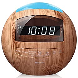 8-in-1 Bluetooth Alarm Clock Radio (Digital) Dual USB Charging Ports,FM Stereo, Dimmable LED Display, Hands-Free Calls, Nap & Sleep Timers, Snooze, Multi-Color Night Light (Wood)