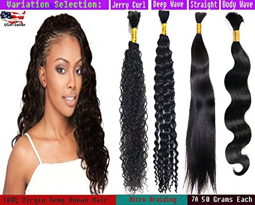 Ustar hot selling High GRADE Bulk Hair for Micro Braiding 100 REMY Virgin Hair Can be Dyed Bleached ABSORBS Color Well Straight 1 bundle 50g Natural Black 20""