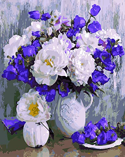 (Paint by Numbers kit, Wooden Framed, DIY Oil Painting - Peonies and Bells (16x20 inch.))
