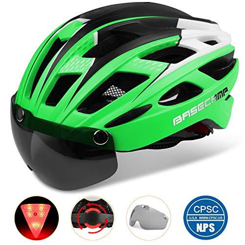 - Basecamp Bike Helmet, Light Weight Bicycle Helmet Specialized Cycling Helmet with Removable Visor& Safety Light& Adjustable Liner for Men&Women (Green)