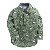 CrayonFlakes Green Long Sleeve Shirt in 100% Cotton with Jungle Print