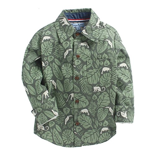 CrayonFlakes Green Long Sleeve Shirt in 100% Cotton with Jungle Print by CrayonFlakes