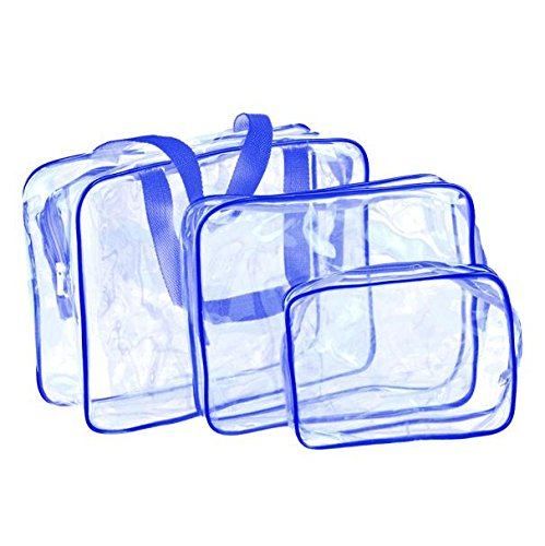 Transparent Blue Zebra (Makeup Bag,Baomabao 3PC Materproof Pouch Cosmetic Travel Must-Transparent Wash Bath Supplies (Blue))