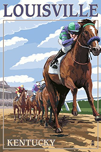Louisville, Kentucky - Horse Racing Track Scene (9x12 Collectible Art Print, Wall Decor Travel (Ky Derby Poster)