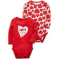 Carter's Baby Girl 2-Pack Heart Bodysuits Set
