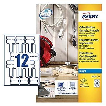 Avery j8951–10 extrem starke selbstklebend Kabel Marker Etiketten ...