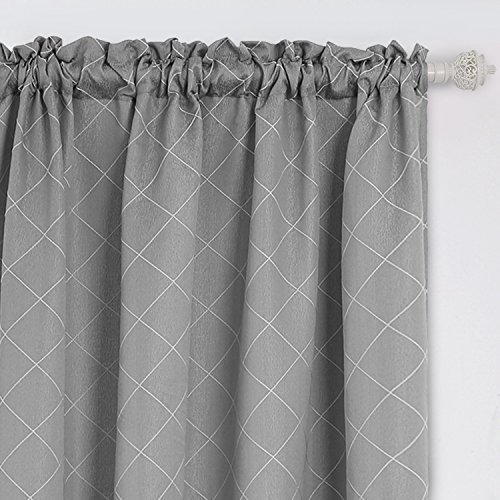 Deconovo Jacquard Luxurious Trellis Pattern Rod Pocket Curtains and Drapes for Sliding Glass Doors 52W x 63L Grey 2 Panels (Jacquard Rod Pocket Curtains)