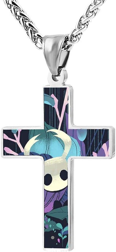 Scara Hollow-Knight Womens /& Mens Zinc Alloy Cross Necklace Pendant Choker 24 Inch Chain