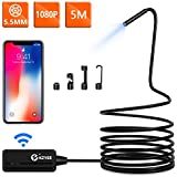 Wireless Endoscope, KZYEE 5.5mm Diameter 1080P 2.0 MP HD Semi-Rigid WiFi Borescope Inspection Camera IP67 Waterproof Snake Camera for Android & iOS Smartphone Tablet-16.5FT