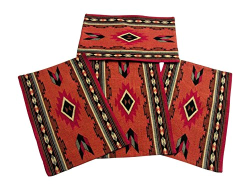 RaaKha Cibola Southwestern Design Place-mats Set of 4 Desert Colors 13x19 inches (Runner Mat Cowboys)