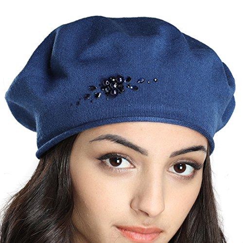 Tomorrow Apariencia Women's Fall Thin Cotton Knit Beret Hat With Rhinestone Flower Decoration