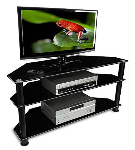 Mount-It! MI-850 TV Stand Glass Shelving with Storage, Black (Corner Television Armoire)