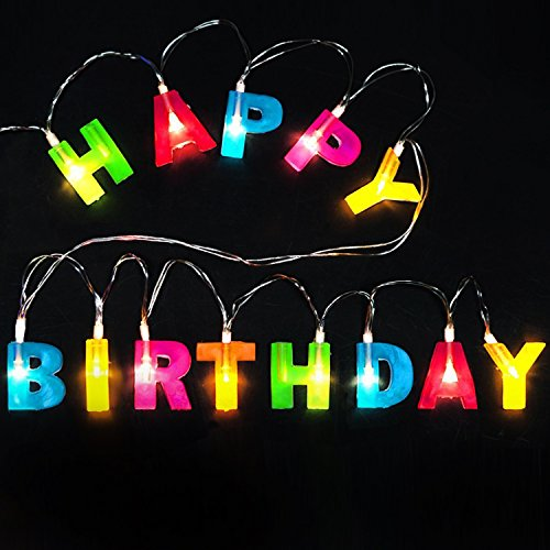 Novelty Place HAPPY BIRTHDAY LED String Lights, Multicolor Light Up Letter Birthday Party Hanging Decorations (1.2