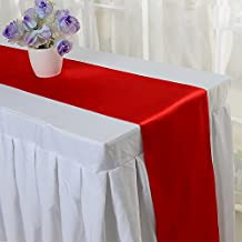 10PCS 12 x 108 Inch Satin Table Runner Wedding Banquet Decoration (#16 Red) by Kate Princess
