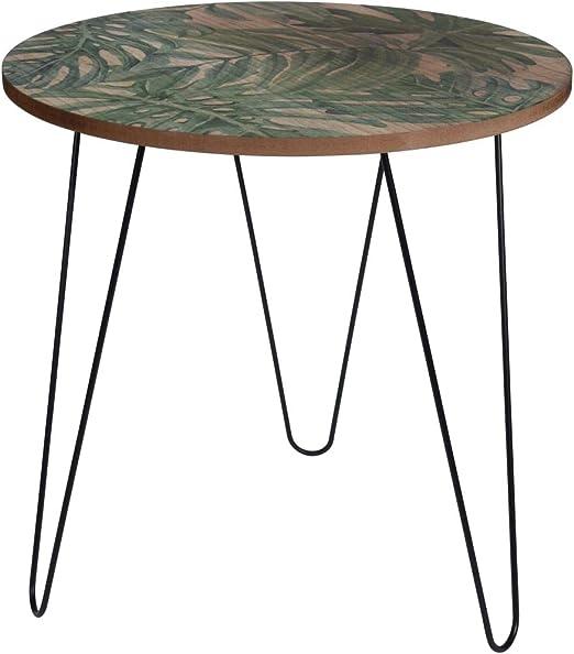 Home&Styling Mesa Auxiliar 50x50 cm MDF y Metal Estampado de Hojas ...