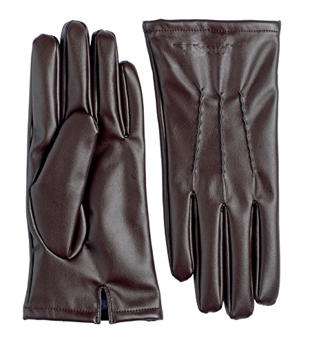 Sportoli Men's PU Leather Warm Winter Gloves with Imitation Fur Inside Lining - Dark Brown - Deer Leather Genuine Lace