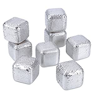Ice Stone SiFREE Stainless Steel Reusable Wine Ice Cubes Chiller Whiskey Stones Sipping Chilling Rocks with Ice Tongs (8 Pack)