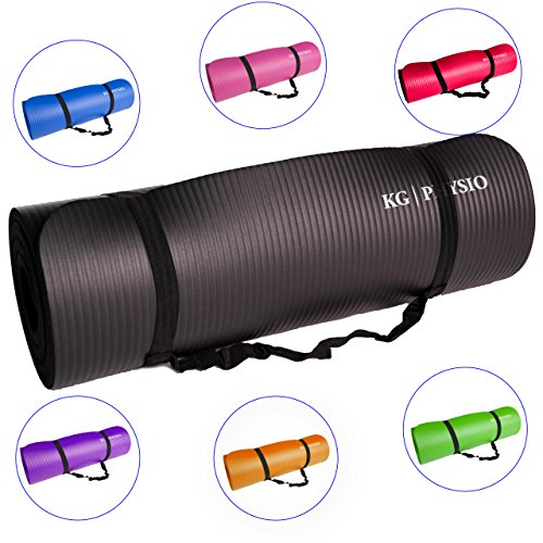 KG Physio Premium quality Yoga Mat (WITH FREE STRAP) 1cm Thick Non-Slip Gym...